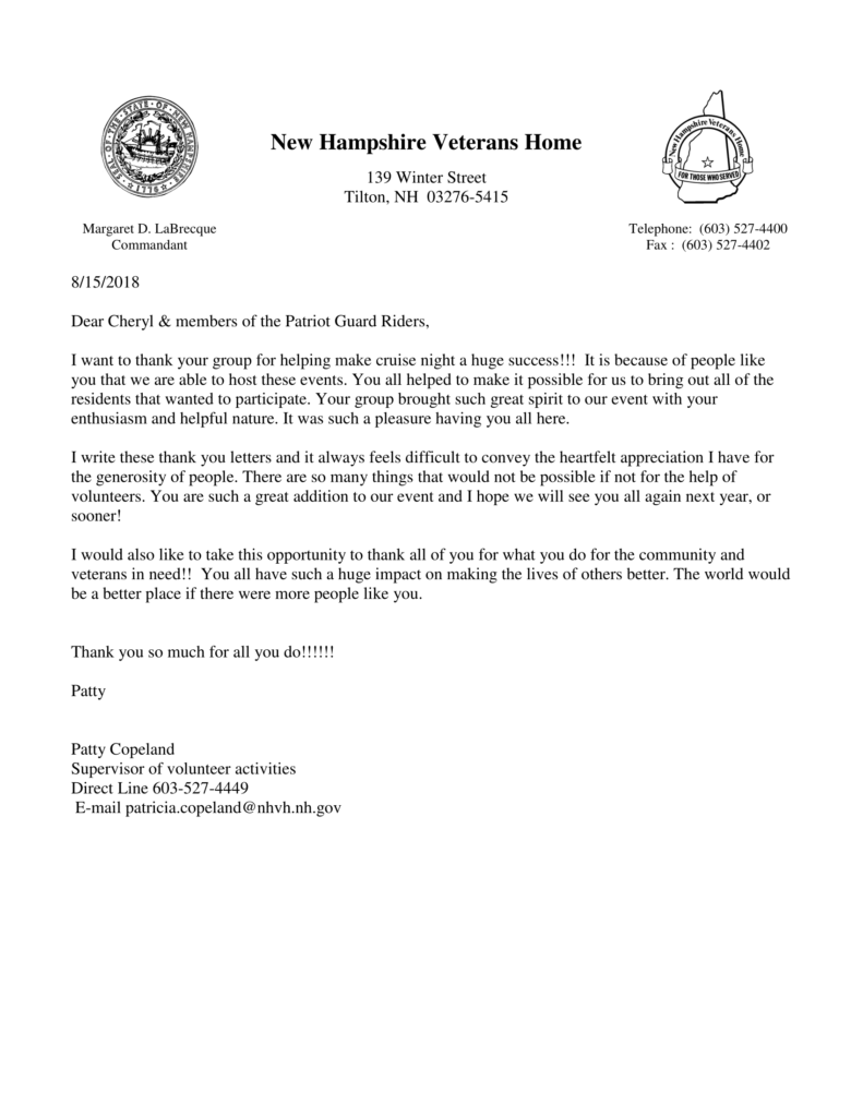 thank you letter from the nh veterans home for participating in this years cruise night